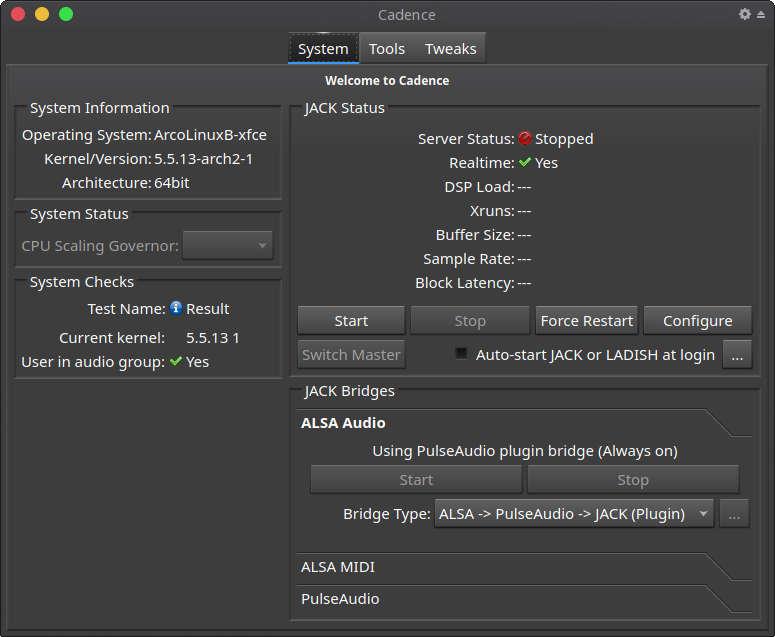 linux audio setup cadence