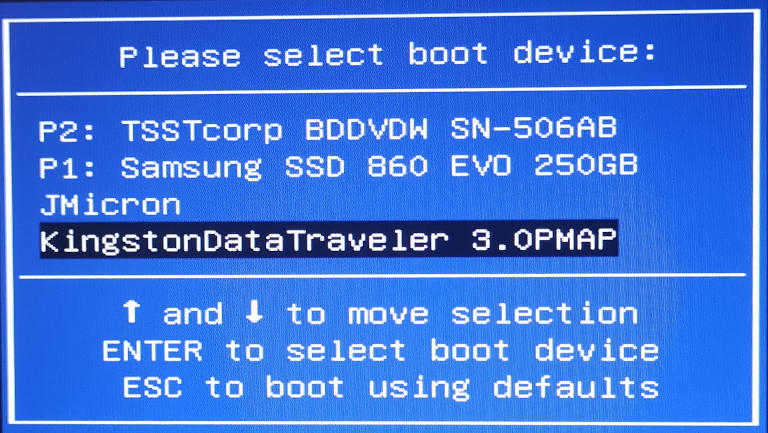 boot menu select usb stick