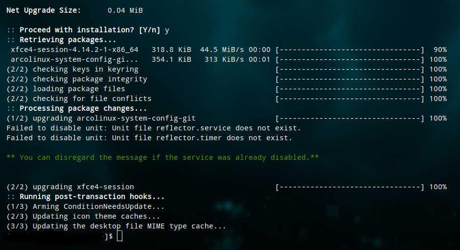 terminal update screenshot taken today